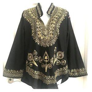 Tops - Embroidered Mandarin collar tunic